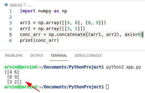 Python numpy concatenate