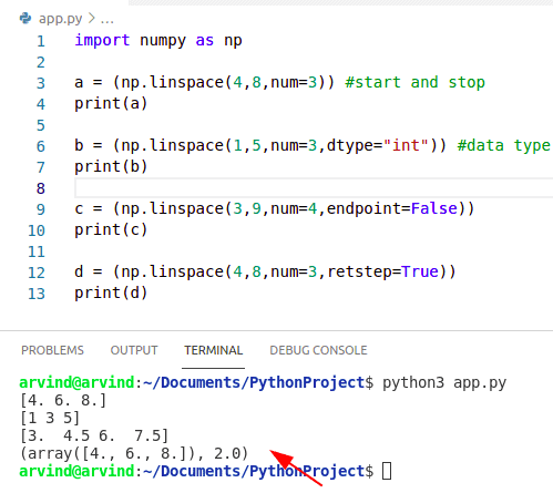 Python numpy linspace examples