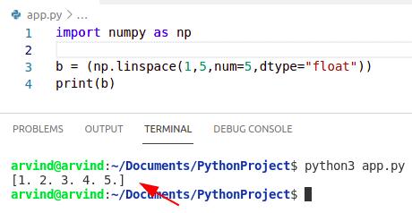Python numpy linspace float