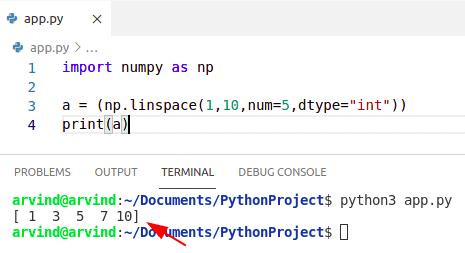 Python numpy linspace integer