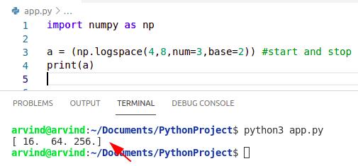 Python numpy linspace logarithmic