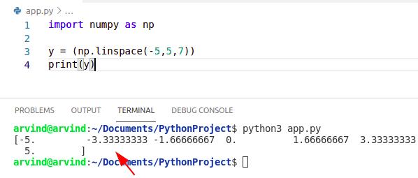 Python numpy linspace vector