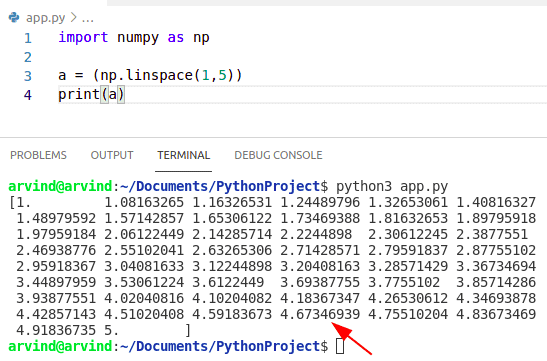 Python numpy linspace