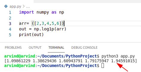 Python numpy log 1p