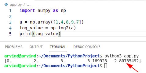 Python numpy log base2