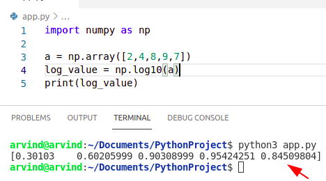 Python numpy log10