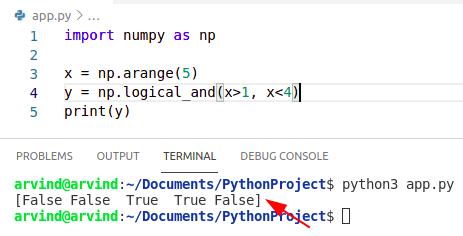 Python numpy logical and