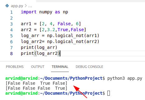 Python numpy logical not