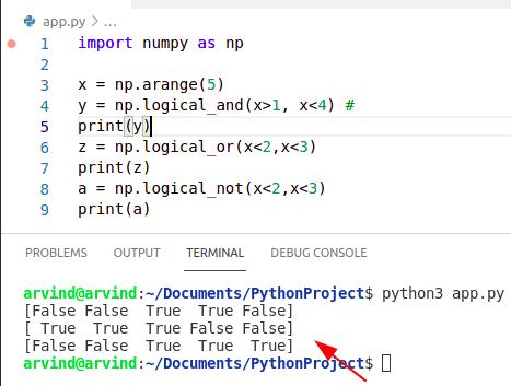 Python numpy logical operator