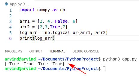 Python numpy logical or