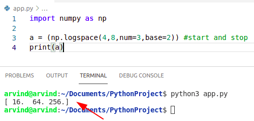 Python numpy logspace
