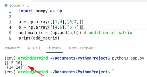 Python numpy matrix addition