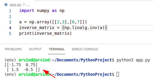 Python numpy matrix inverse