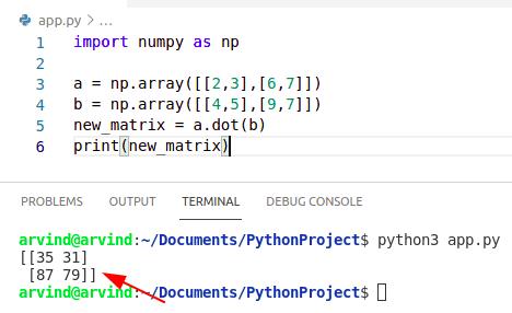 Python numpy matrix multiplication