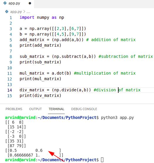 Python numpy matrix operation
