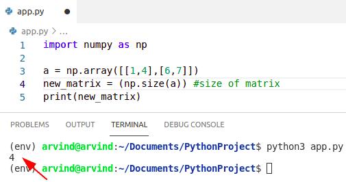 Python numpy matrix size