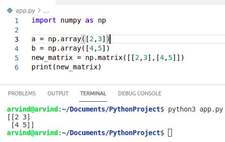 Python numpy matrix