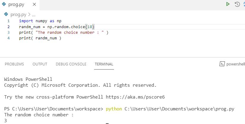 Python numpy random choice