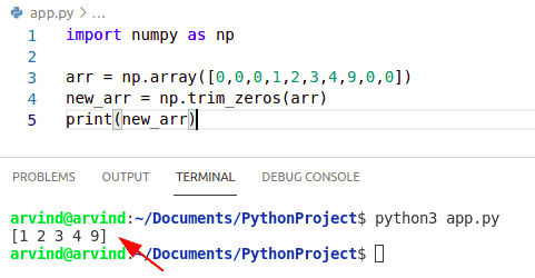 Python numpy remove zeros from an array