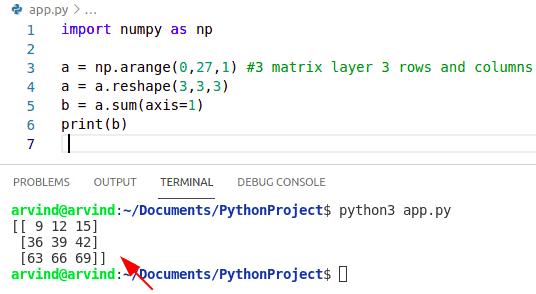 Python numpy sum 3d array