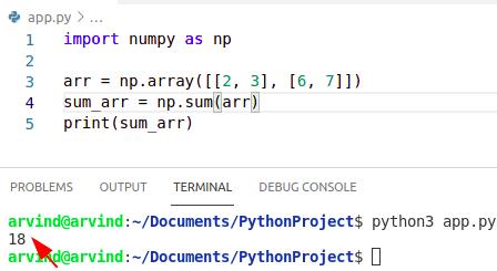 Python numpy sum function
