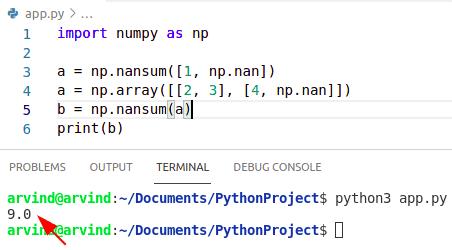 Python numpy sum ignore nan