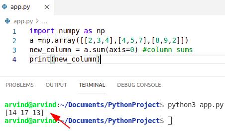 Python numpy sum of columns