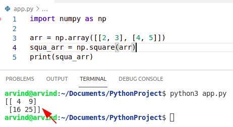 Python numpy sum of squares