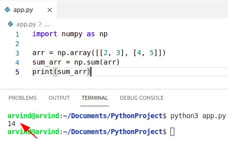Python numpy sum two arrays