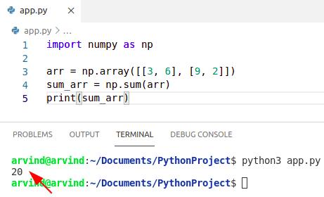 Python numpy sum
