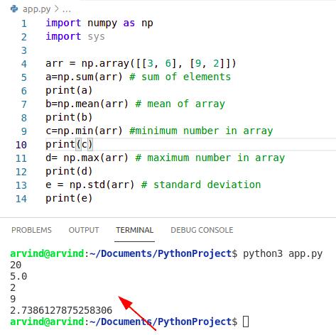 Python numpy summary statistics