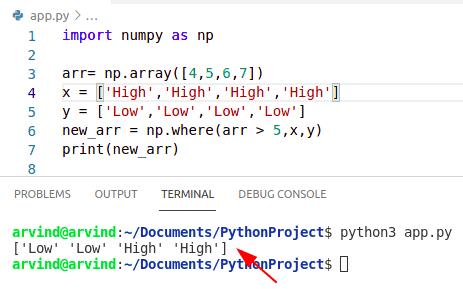 Python numpy where