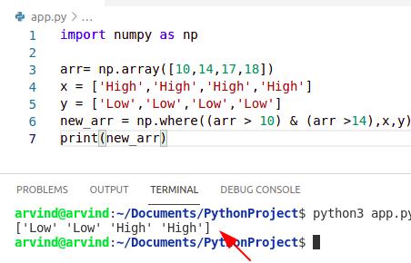 Python numpy where And