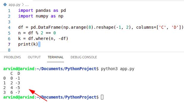 Python numpy where dataframe