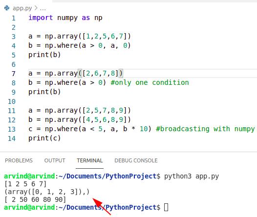 Python numpy where examples