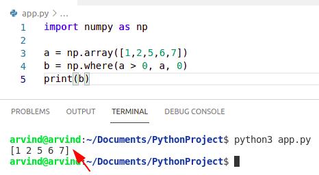 Python numpy where in list
