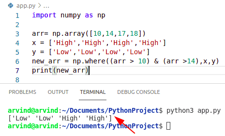 Python numpy where multiple condition