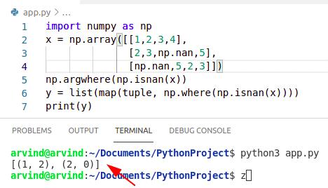 Python numpy where nan