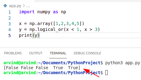 Python numpy where or
