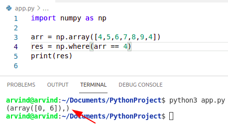 Python numpy where the index