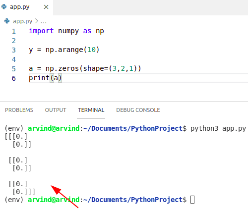 Python numpy zeros 3d