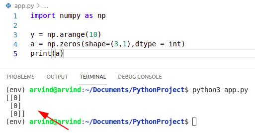 Python numpy zeros column