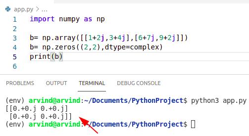 Python numpy zeros complex