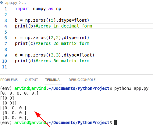 Python numpy zeros example
