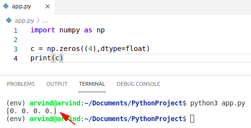 Python numpy zeros float
