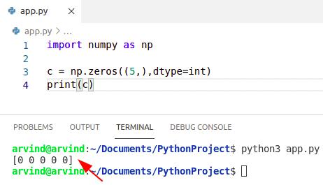 Python numpy zeros int