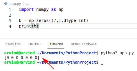 Python numpy zeros