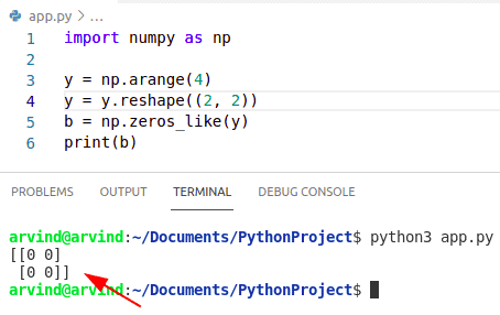 Python numpy zeros_like