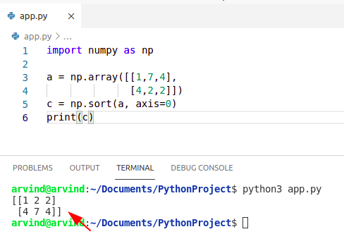 Python sort 2d numpy array by column