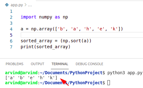 Python sort numpy array by alphabetically